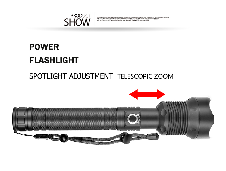 High Powerful 3 Modes XHP70.2 flashlight torch Usb Rechargeable Telescopic Zoom High 90000 Lumen Led XHP70 Flashlight