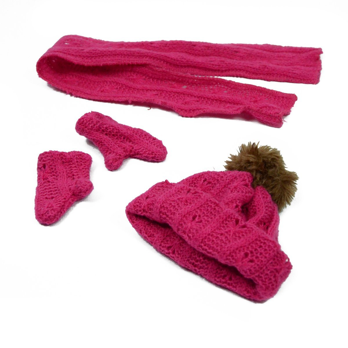 Pink Hat Mittens and Shawl Set for 18 Inch Dolls - American Girl Doll Clothes, 18 Inch Doll Accessories