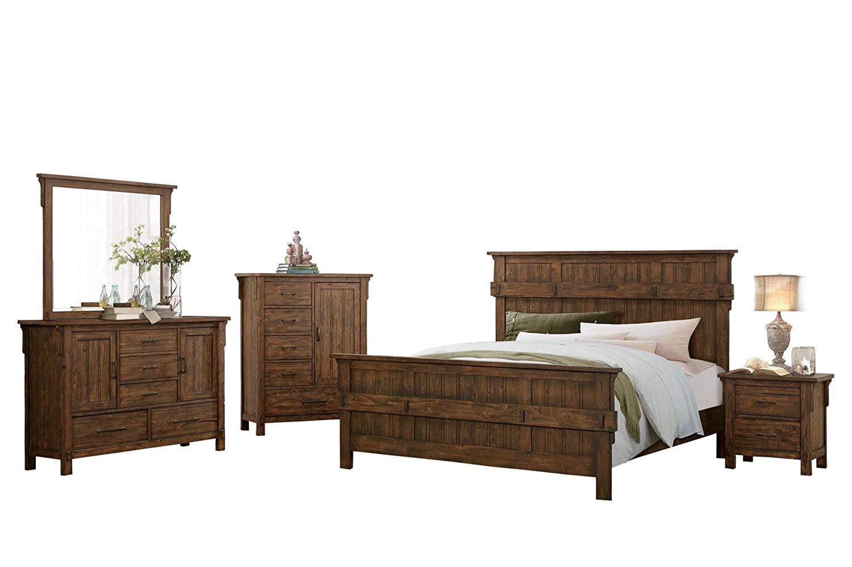 Tanhill Rustic Craftsman 5PC Bedroom Set Queen Bed, Dresser, Mirror, Nightstand, Chest in Reclaimed Oak