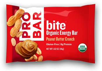 PROBAR - bite Organic Energy Bar - Peanut Butter Crunch - USDA Organic, Gluten-Free, Non-GMO Project Verified, Plant-Based Whole Food Ingredients, 6g Protein, 3g Fiber - Pack of 12