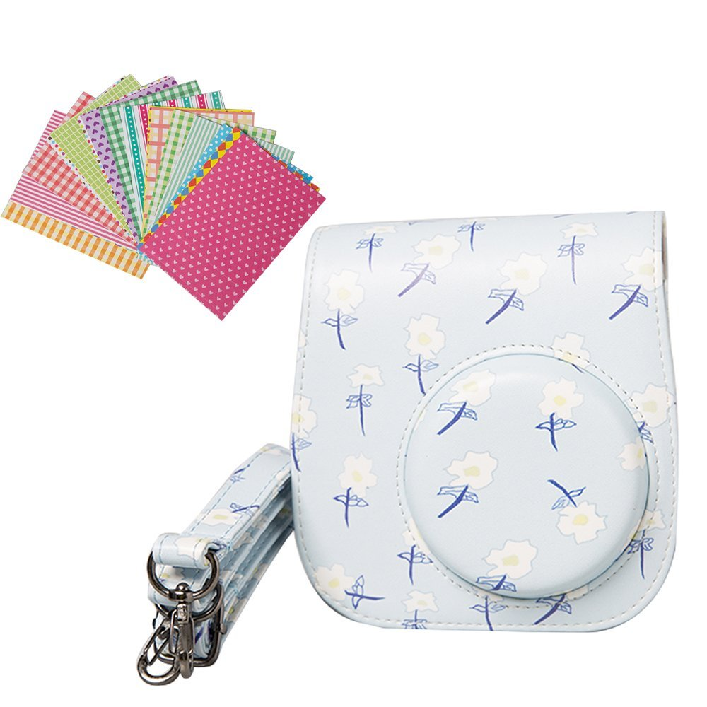 Anntic lovely Instax Mini 8/8+/9 Case PU Leather for Fujifilm Instax Mini 9/Mini 8/Mini 8+ Instant Film Camera with Strap and 20 PCS Stickers - Blue flower
