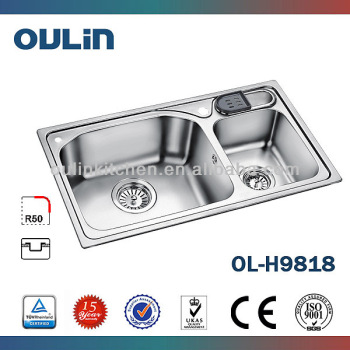 Double Bowl Stainless Steel Kitchen Sink Overflow