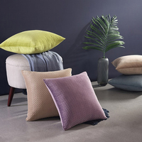 Savvy deco Super Soft Nordic 100% Polyester Multi Size Color Square Home Decor Plain Velvet Embossed Cushion Cover