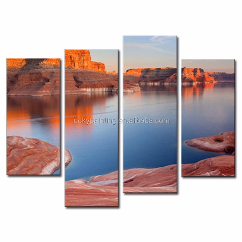 LK4113 4 Panel Modern Canvas Painting For Home Lake And Canyon At Sunset Sunrise At The Grand Canyon Colorado Arizona Landscape
