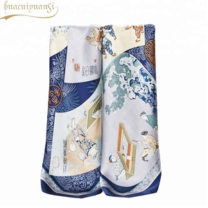 French Muffler Large Photo Print Silk Scarf For Girls