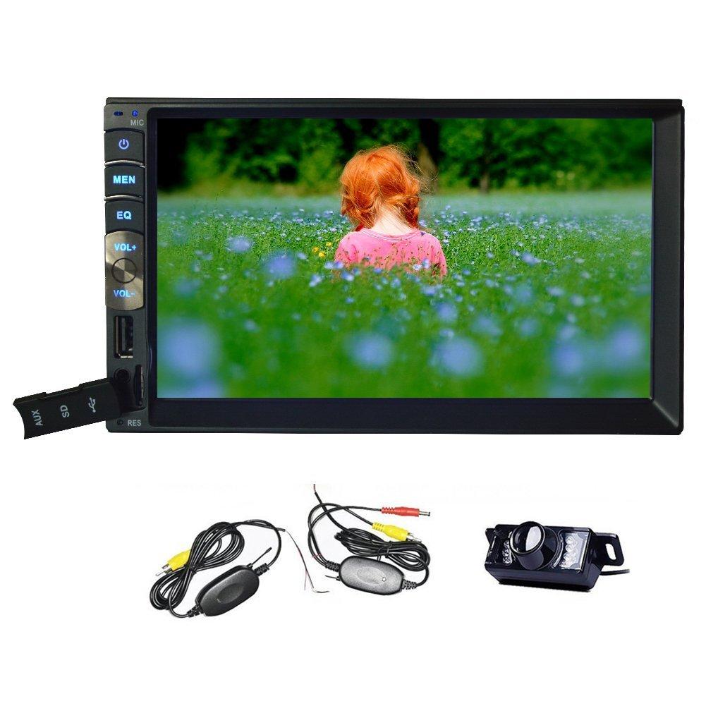 Wireless Rear Camera + New Arrival 7 Inch Capacitive Touch screen 2 Din In Dash Car Monitor Bluetooth EQ Remote Contol Steering Wheel Control Autoradio FM Receiver Headunit