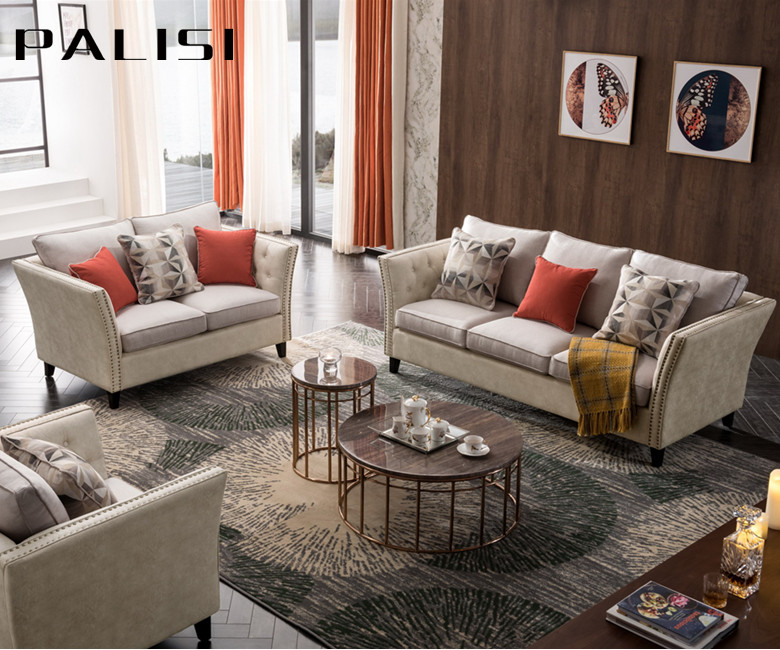 2019 Factory Direct Sale High Quality Solid Wood Classic Fancy Sofa Set Tufed American Design