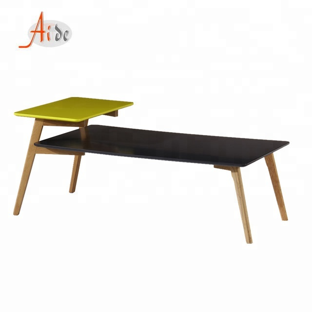 Living Room Double Layer Side Table 2 Tiers Wooden Square Coffee Table