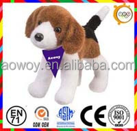 logo scarf plush dog plush beagle stuffed beagle with bandana plush animal toy