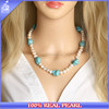 Handmade Knotted Women Big Chunky Pearls Necklace Jewelry with Turquoise Stones