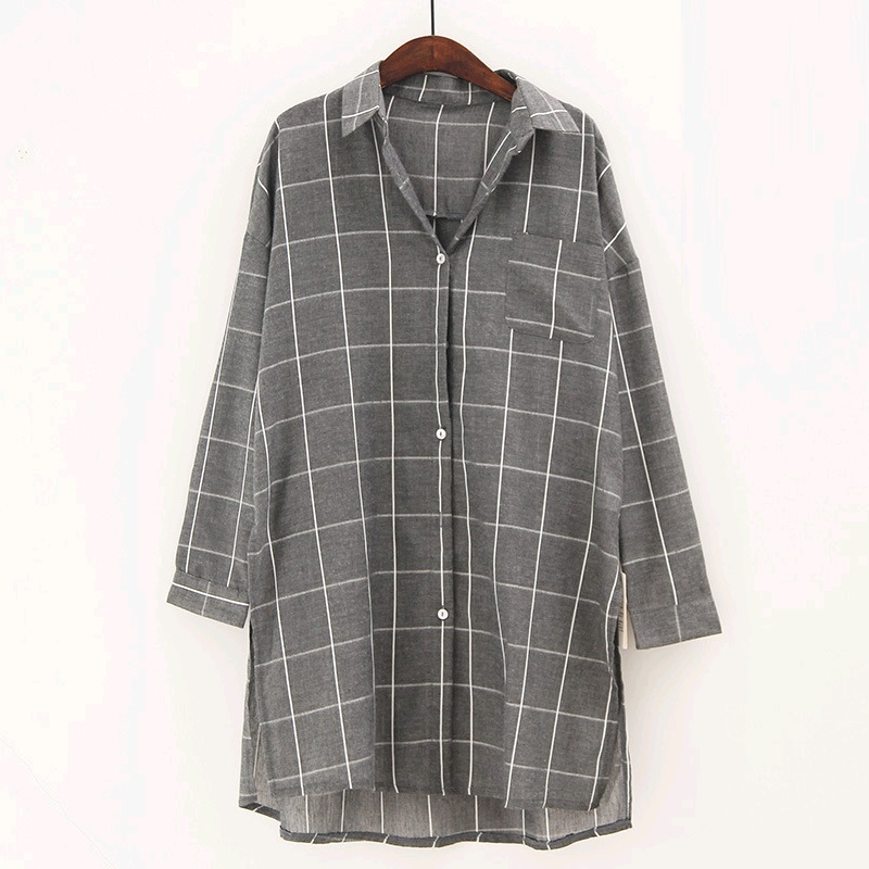 Plaid Shirt Women White Gray Navy Plaid Long Sleeve Shirts For Women Female Big Size Side Split Long Blouses Tops Fashion