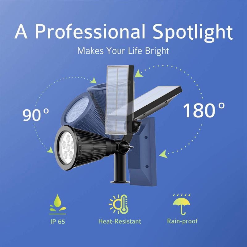 Outdoor Waterproof IP65 Solar Powered Spot Light Adjustable Sensor Light Outdoor Solar Spotlights Garden