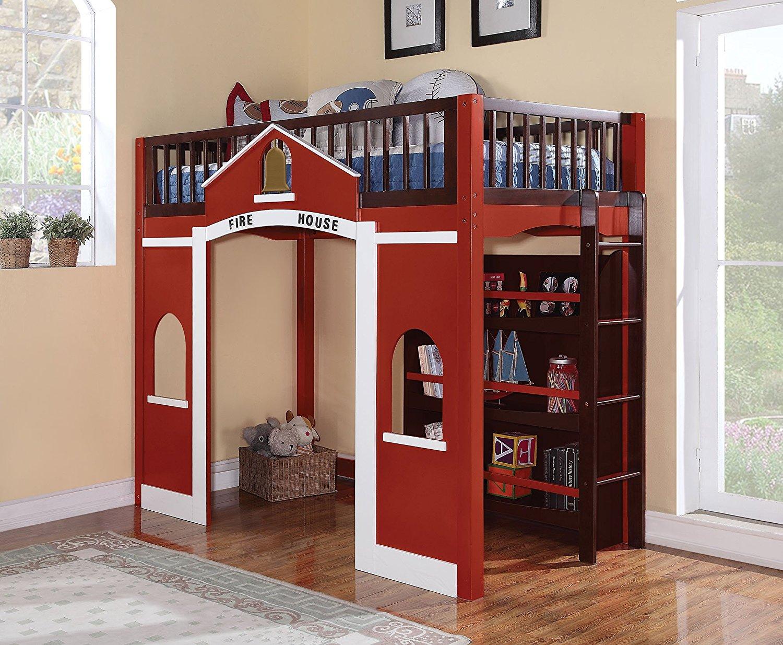HomeRoots Loft Bed & Bookshelf, Red, White & Espresso - Pine Wood, MDF w/Pine Ven Red, White & Espresso