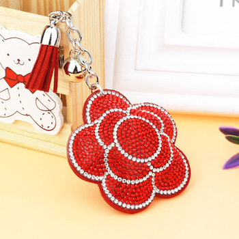 AP10174 rhinestone rose flower crystal key ring chains holder tassel bag buckle pendant ornaments charm car leather keychain