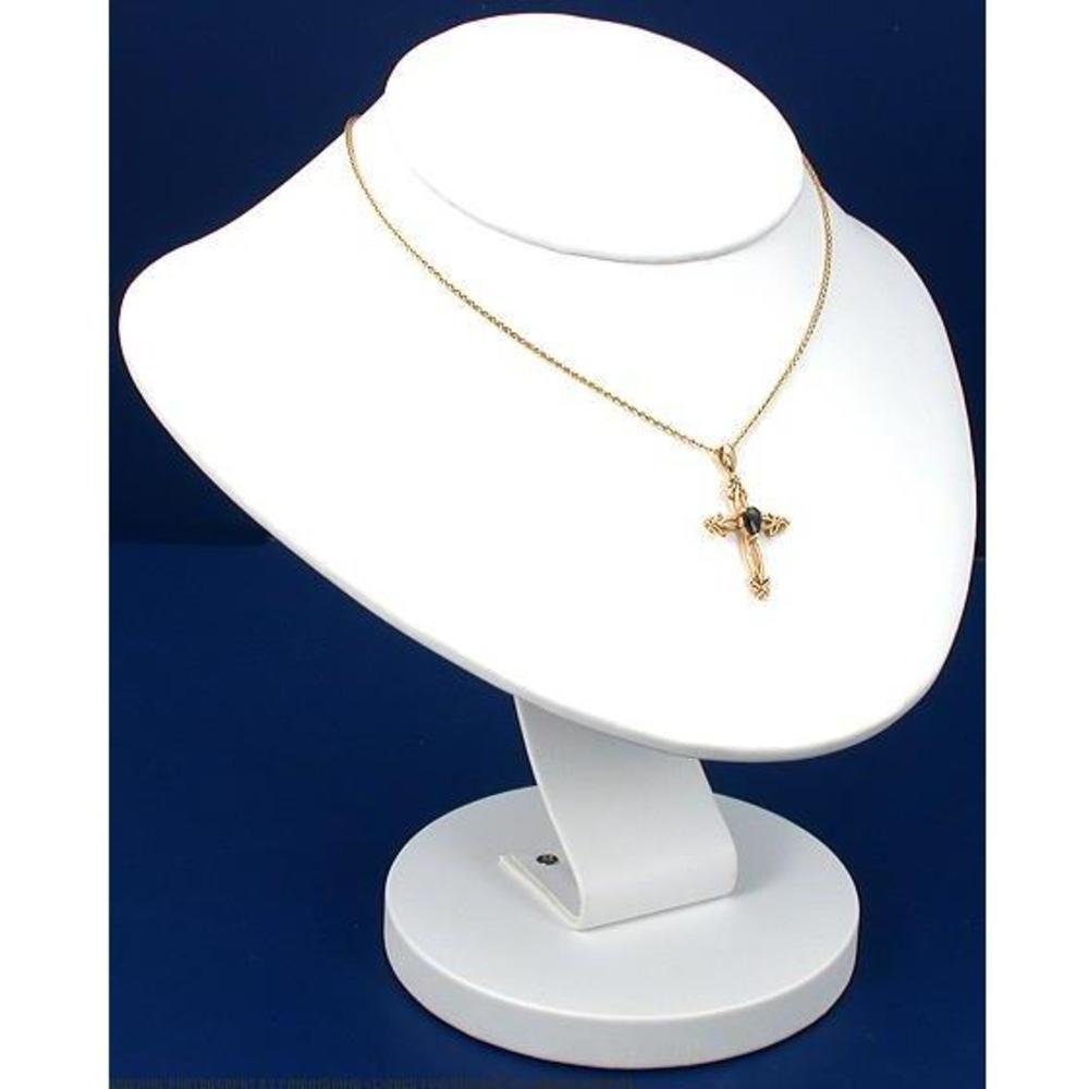"""White Leather Necklace Bust Chain Jewelry Display 8.5"""""""