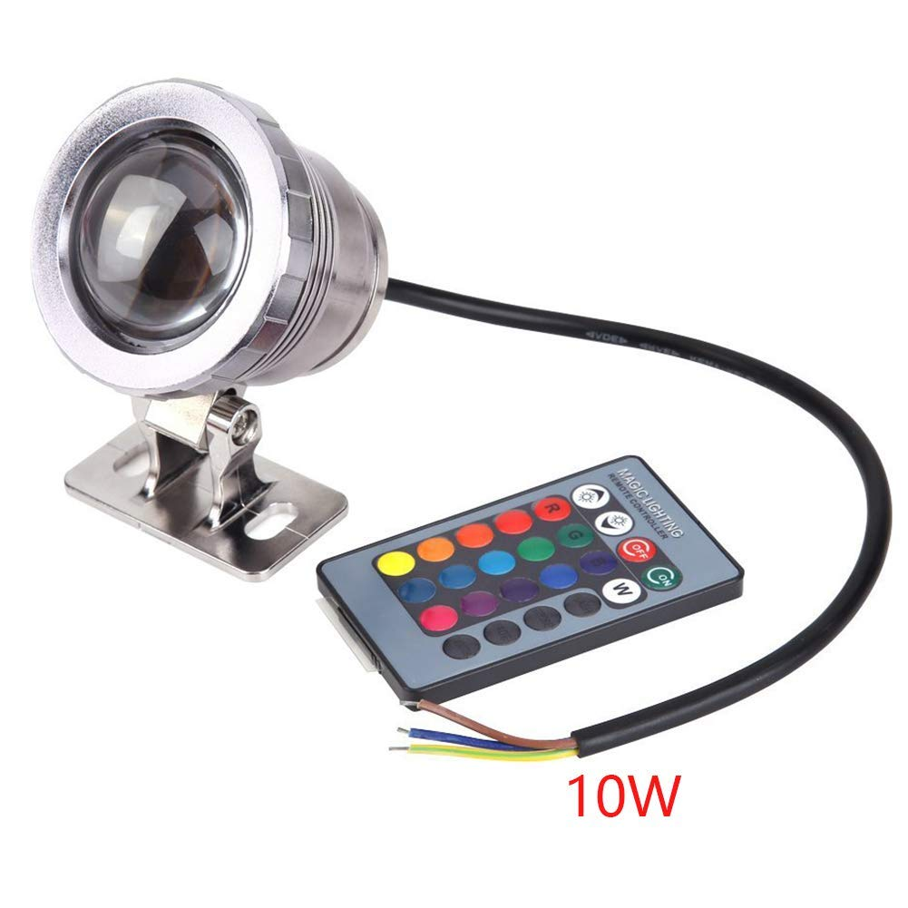 7 Colors 10W 12V RGB LED Underwater Fountain Light 1000LM Swimming Pool Pond Fish Tank Aquarium LED Light Lamp IP68 Waterproof(Silver)