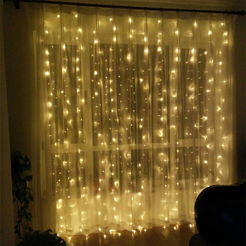 3M X 2M Bedroom Fairy Lights Battery Operated Led Light Curtain For Wedding  Backdrop