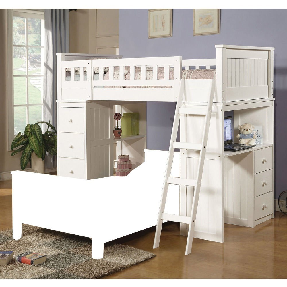 1PerfectChoice Willoughby Youth Kids Twin Loft Bed w/ Ladder Side Workstation White (Bottom Twin Bed No included)