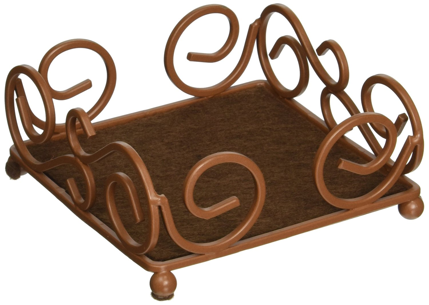 Thirstystone Square Scroll Brown Wrought Iron Coaster Holder for Thirstystone 4-Inch Square Travertine
