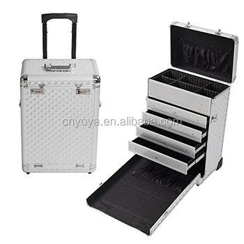 Professional Hair Stylist Aluminum Rolling Tool Box Makeup