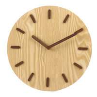 12 inch creative modern simple style wood craved clock face hands 3d numbers round wooden wall clock with silent movement