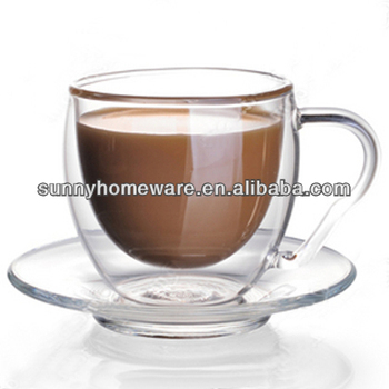 66afc11b9b Double Wall Clear Glass Cup Saucer Tableware / Glass Coffee Tea Cups ...