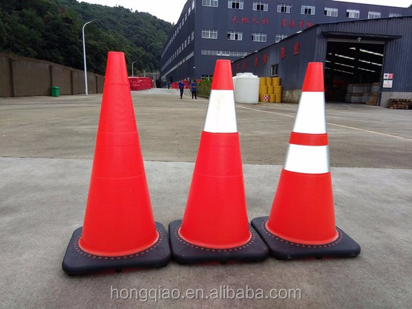 "28"" 7lbs Black Base Fluorescent Orange Flexible Soft Unbreakable PVC Road Traffic Safety Cone glow in the dark traffic cone"