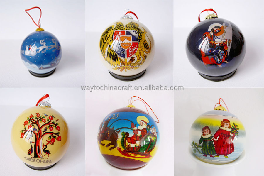 unique hand painted glass christmas ornament ball