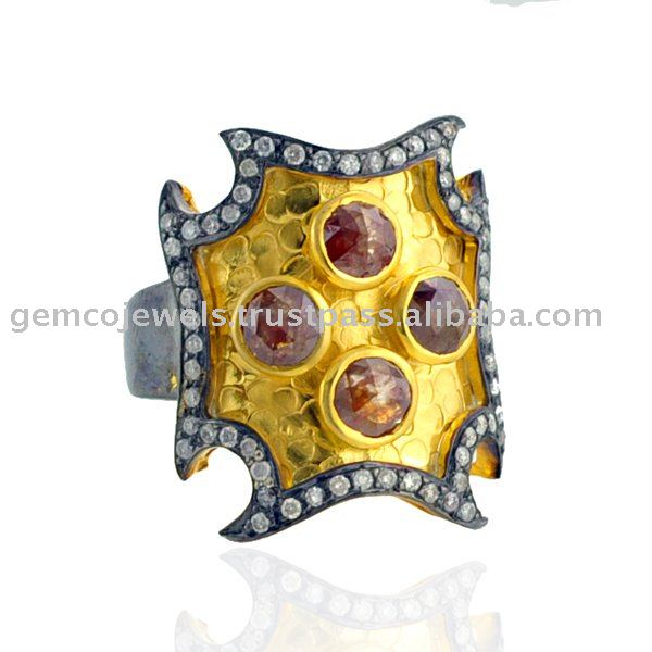 18k Gold Genuine Diamond Victorian Cocktail Handmade Rings Jewelry