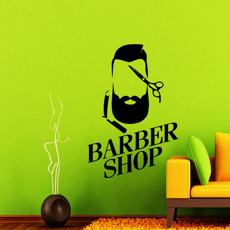 Promotion Barber Shop Wall Decal Murals Hair Salon Vinyl Sticker Hipster Art Scissor Decor Adesivos De Parede Home Decoration