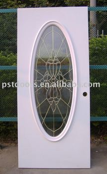 Flush Metal Door With Full Oval Glass Insert Tempered