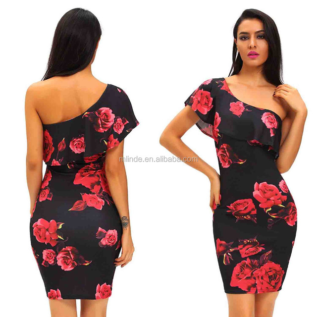 7c36dc3d1236 Bodycon Dress for Women s Rose Print Frill One Shoulder Club Midi Cocktail  Bodycon Aztec Printed Dress