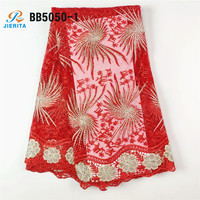 BB5050-1 new product big lace red color african french tulle net lace for party