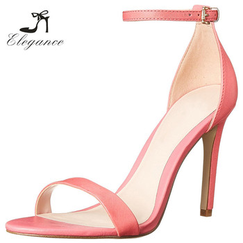 f31c29a72a2fa 2017 Ladies Dress Shoes Plus Size Custom Logo Peach Pink PU Sex Peep Toe  Ankle Buckle