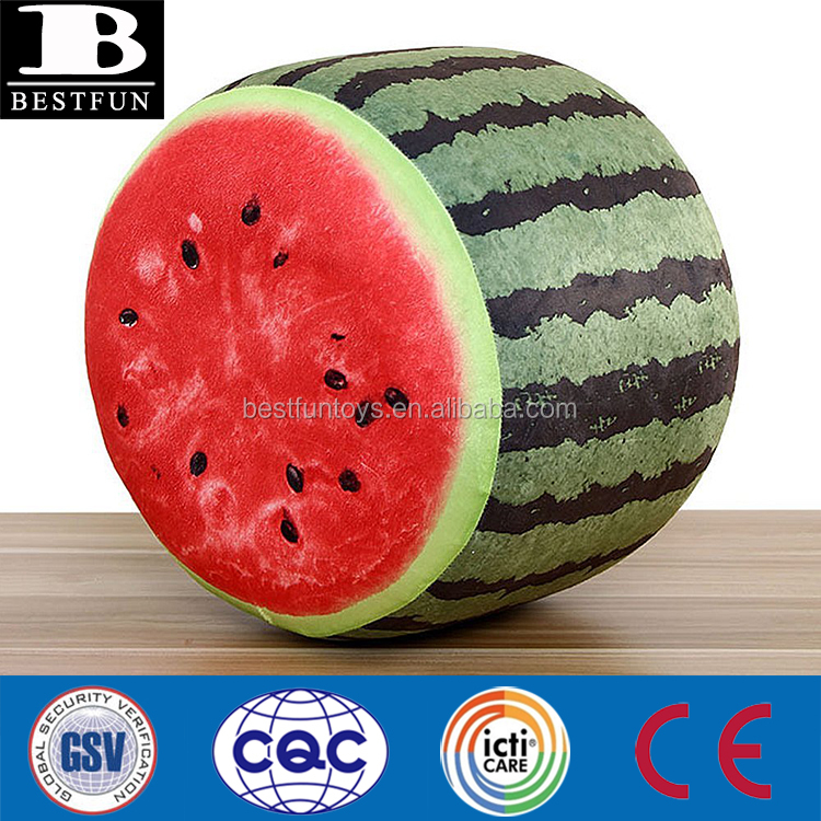 heavy duty inflatable stool 3D digital print fruit sofa durable realistic blow up fruit ottoman folding travel foot rest pillow