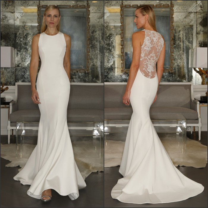 Mermaid Style Lace Wedding Gowns: New 2015 Mermaid Style Ivory Simple Satin Wedding Dresses