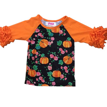 11668a2fc baby girl boutique clothing kids halloween pumpkin embroidery outfits  wholesale children girls ruffle shirts