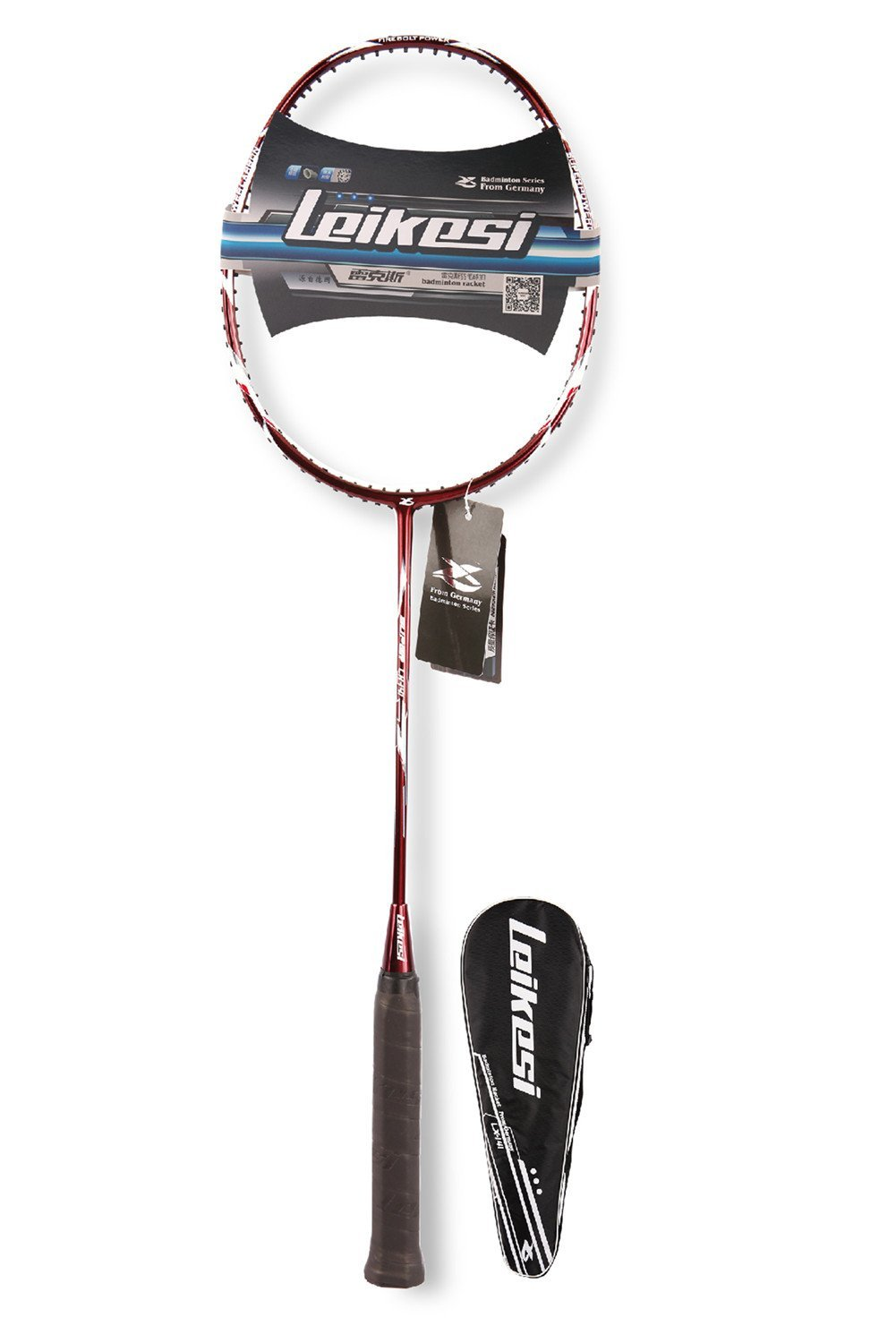 LeiKeSi Carbon Fiber Integrated Single Red Badminton Racket Without Line