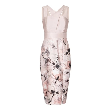 Wholesale women fashion summer wedding guest peach color sleeveless printed floral satin party dress