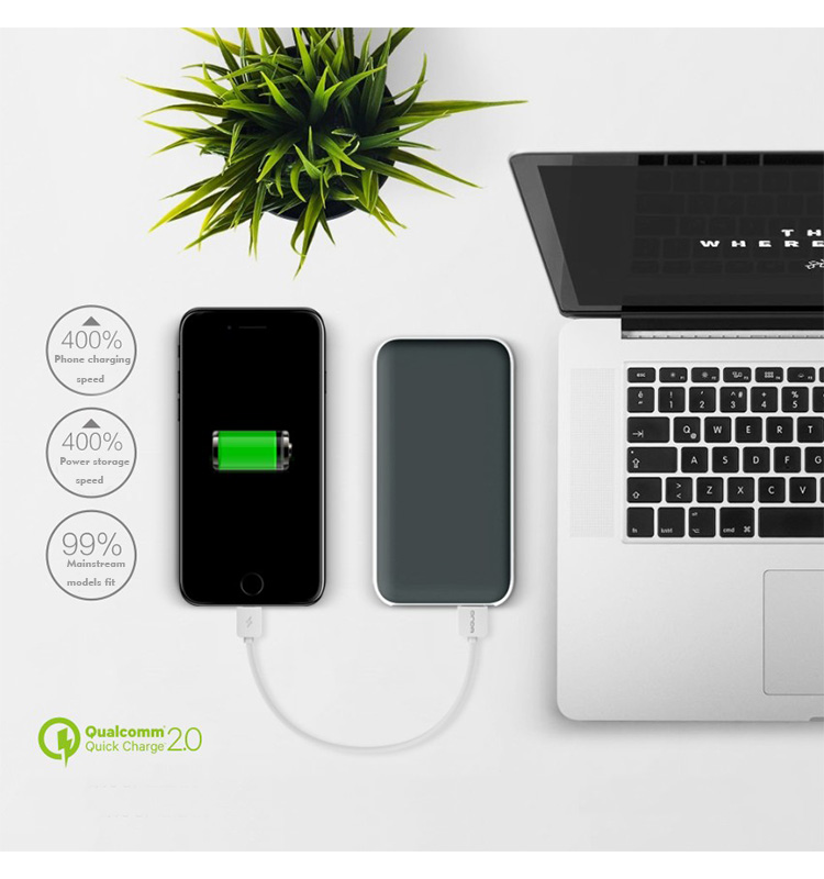 Premium Ultra-thin Portable External Battery Charger Double USB Charger with Flashlight for phone
