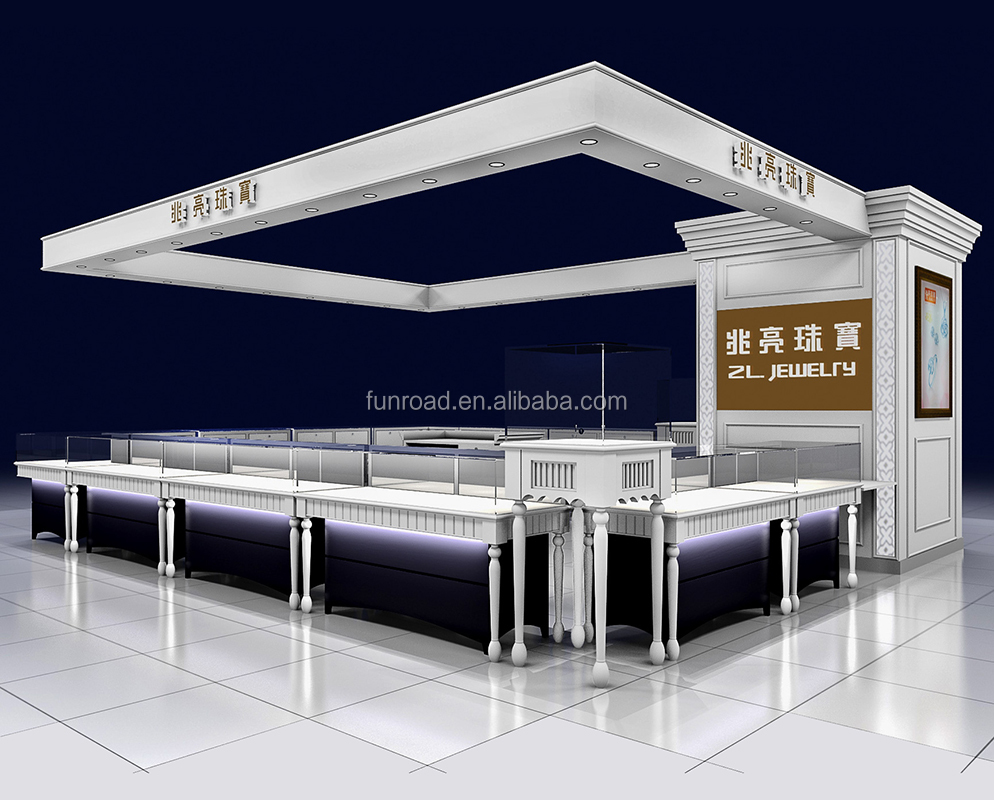 Custom wooden retail jewelry kiosk display in mall