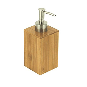 Bathroom Square Hand Pump Sanitizer Dispenser Liquid Bamboo Soap Dispenser