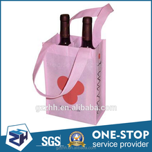 wholesale recyclable laminated custom printing tote drawstring wine bottle bag,non woven shopping bag,wine bag