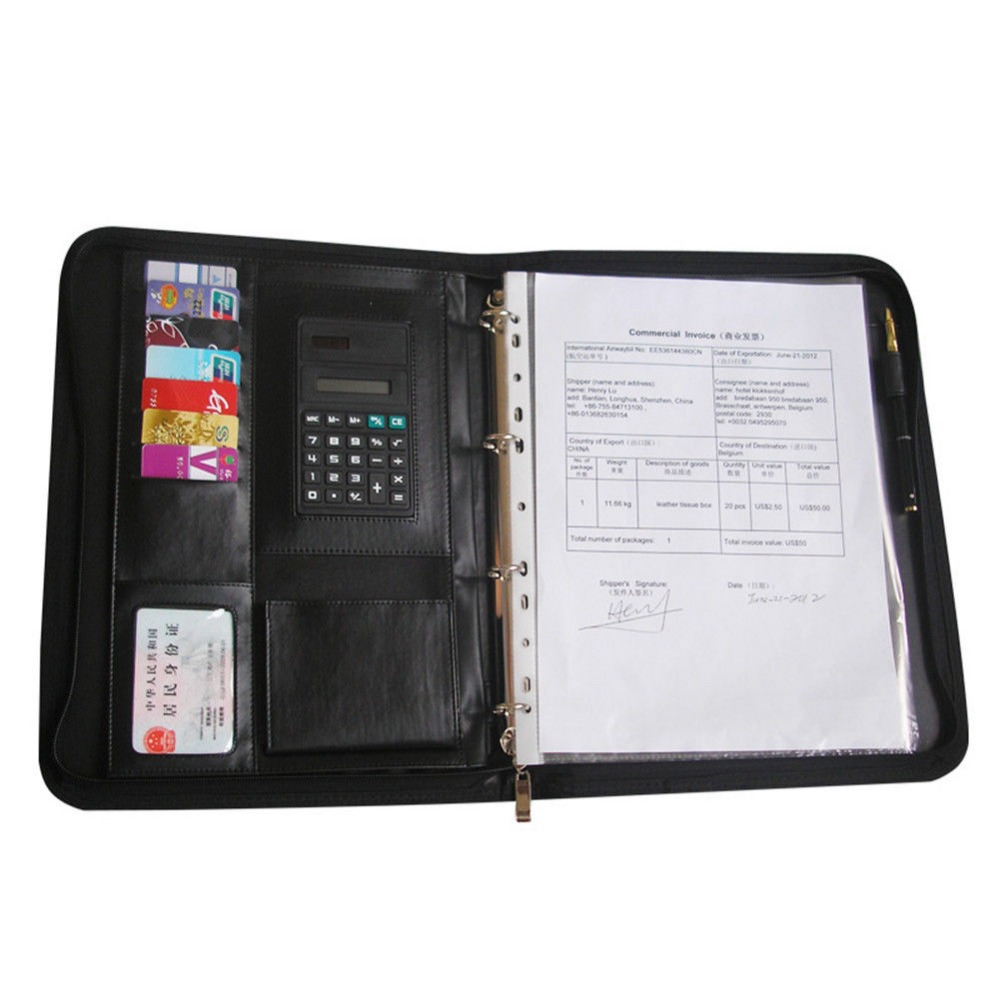 Ever Perfect A4 Zipper Bag Leather File Document Folder