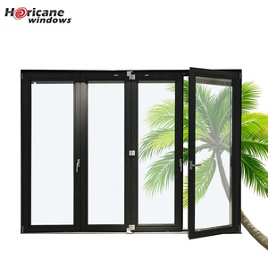Aluminum glass panel accordion bifold folding door with built-in blinds