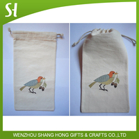 Small beige cream white color lucky magpie robin bird print Cotton Canvas Drawstring gift Pouch Bag