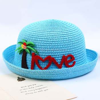 Lovely Kids Summer Beach Sun Caps Boys Girls Children Cartoon Straw Hats 13aa16fee18a