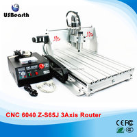 2017 NEWEST WITH FREE GIFT! 800W 3axis CNC Router 6040Z-S65J engraving machine for hard metal +3.175mm cnc router bits+ ER11