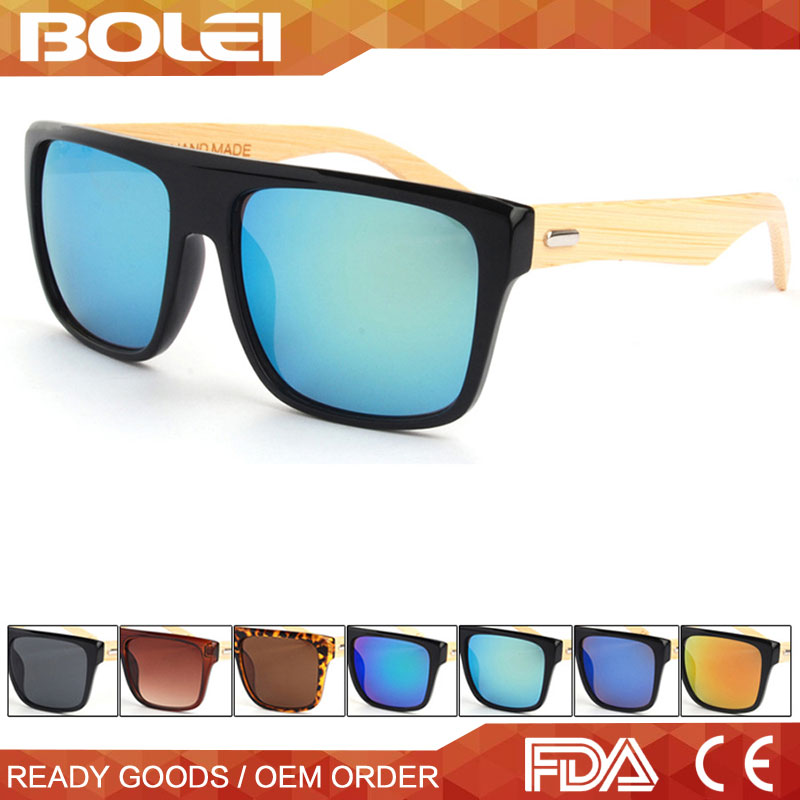 big frame cheap plastic <strong>bamboo</strong>/wood temples sunglasses for men