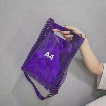 High Quality Transparent Pvc Tote Bags With Outside Pocket See Through Plastic Beach Handbag